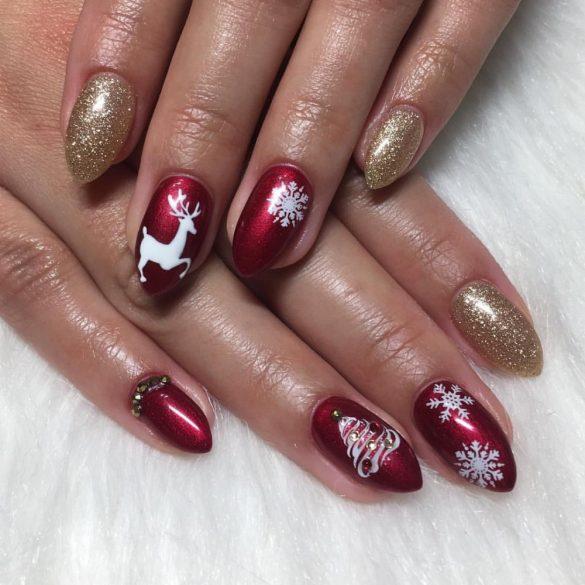 Gel Nail Polish - DN168 - Red Wine (metallic)
