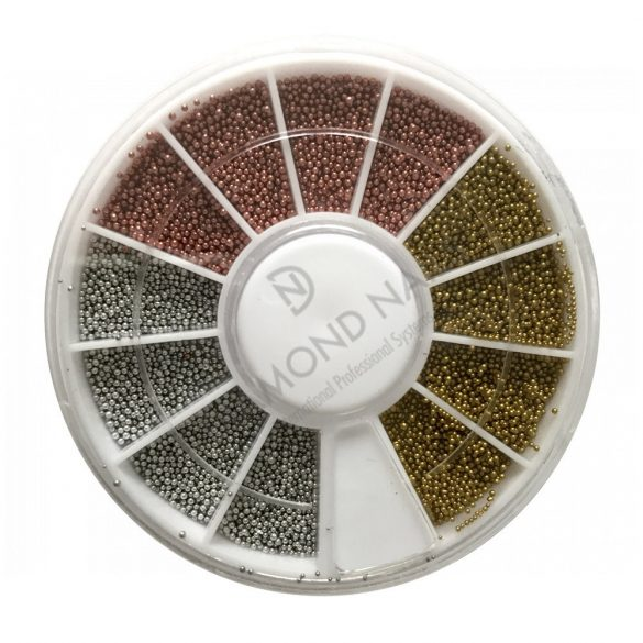 Nail art wheels - beads /silver, gold, bronze/