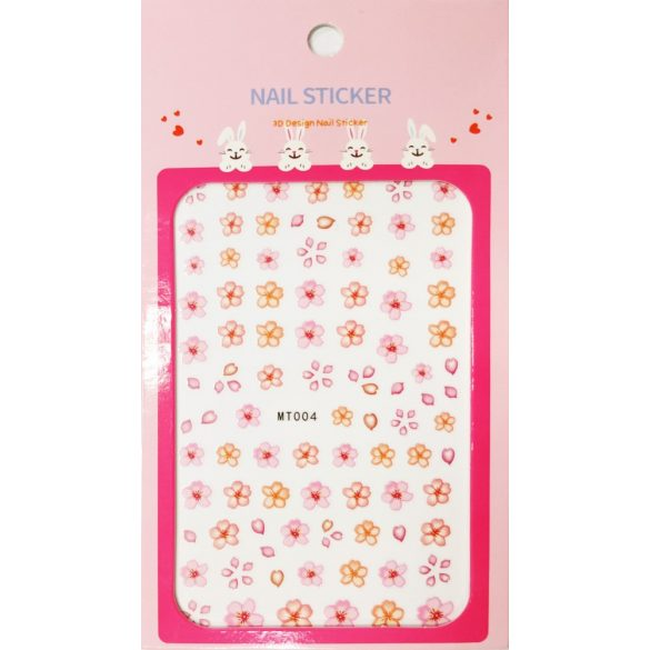 Nail Art Stickers - Pink and Orange Flowers - MT004