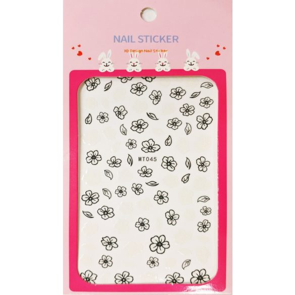 Nail Art Stickers - Black and White Flowers - MT045