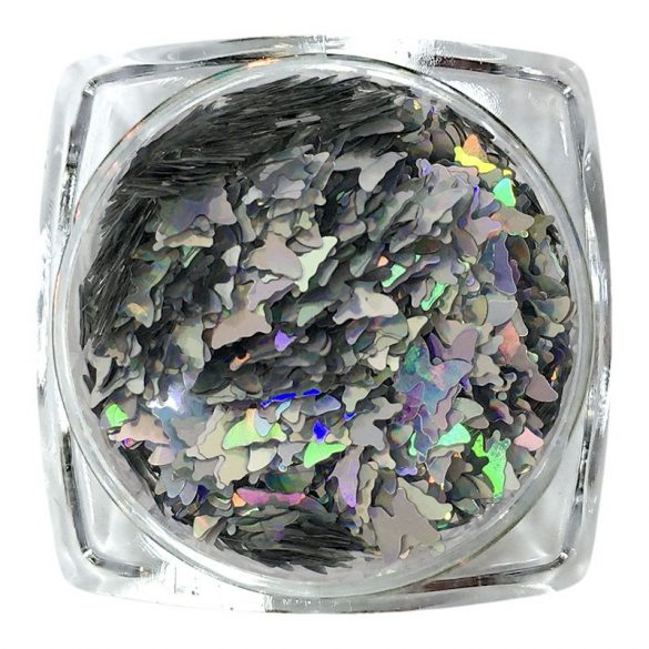 Holographic Nail art - Butterfly (silver)
